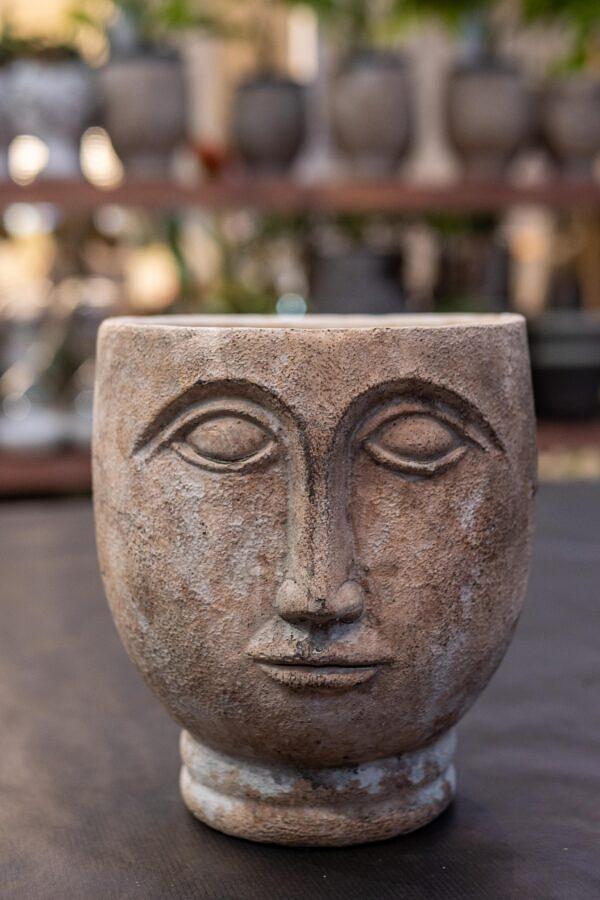 vazonas veidas, keramika, vazonas, veidas, vazonelis